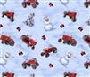 Farmall Tractors & Snowman Cotton Fabric