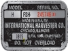 International Harvester Farmall Tractor Tag