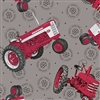 Farmall Show Tossed Tractors Fabric - Gray