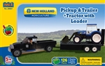 Truck, Trailer & New Holland Tractor w/Loader Block Set