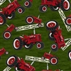 Farmall Tractor/Fence Toss Cotton Fabric