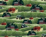 Vintage Barn Tractor Pattern Fabric