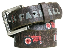 Farmall IH Brown Vintage Tractor Weathered Genuine Leather Belt