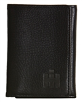 IH Black Leather Trifold Wallet