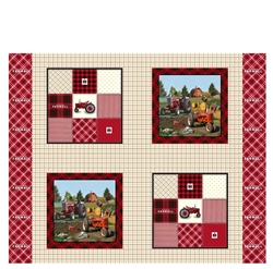 Farmall Plaid Pillow Panel Cotton Fabric