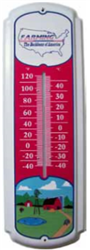 "Farm Scene 27"" Metal Thermometer"