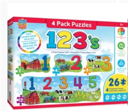 123 on the Farm Jigsaw Puzzle-4 pack