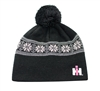 Womens IH Jaquard Knit Hat -Grey/Pink w/Pom Pom