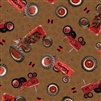 Down on the Farm Brown Tractor Toss Cotton Fabric