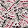 Farmall Words Cotton Fabric - Light Gray