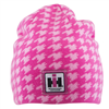 IH Women's Reversible Pink Hounds Tooth Knit Beanie