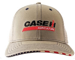 Case IH Khaki Embroidered Logo USA Side Flag & Brim Filled Cap