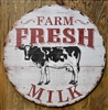 Farm Fresh Milk, Black and White Jersey Cow, Solid Wood