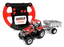 Red Controlled Case IH Magnum with Trailer Metal Construction Kit