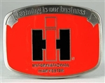"IH ""Farming is our Business"" Red Enamel Buckle"